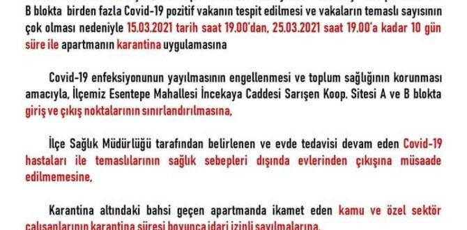 SAFRANBOLU ESENTEPE'DE İKİ BİNA KARANTİNAYA ALINDI