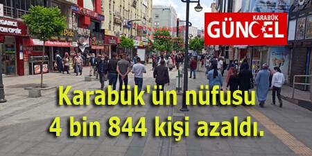 Karabük'ün nüfusu 4 bin 844 kişi azaldı.