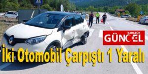 İki Otomobil Çarpıştı 1 Yaralı
