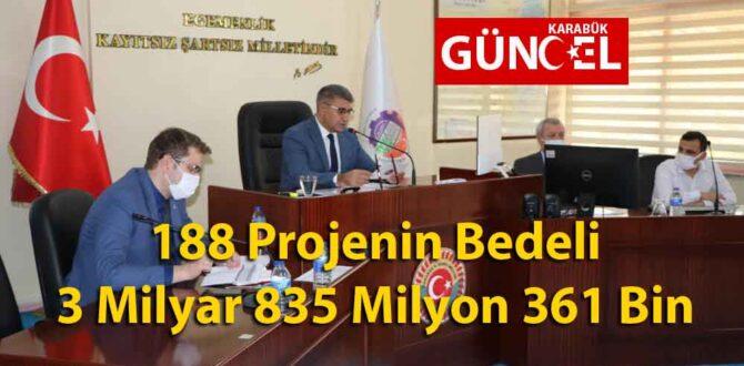 188 Projenin Bedeli 3 Milyar 835 Milyon 361 Bin TL